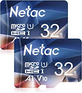Netac 32GB x 2 Micro SD Card, microSDHC UHS-I Memory Card - 90MB/s, 600X, U1, C10, Full HD Video V10, A1, FAT32, High Speed Flash TF Card P500 for Smartphone/Bluetooth Speaker/Tablet/PC/Camera/VR