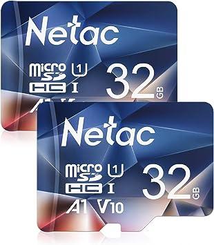 TALLA 32 GB. Netac Tarjeta de Memoria de 32GB, Tarjeta Memoria microSDXC(A1, U1, C10, V10, FHD, 600X) UHS-I Velocidad de Lectura hasta 90 MB/s, Tarjeta TF para Móvil, Cámara Deportiva, Switch, Gopro(2 Packs)