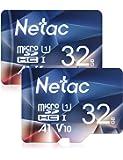 Netac 32GB x 2 Micro SD Card, microSDHC UHS-I Memory Card - 90MB/s, 600X, U1, C10, Full HD Video V10, A1, FAT32, High…