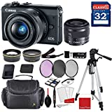 Canon EOS M100 Mirrorless Digital Camera (Black) with Canon EF-M 15-45mm f/3.5-6.3 IS STM Lens (Graphite) + Professional Accessory Bundle
