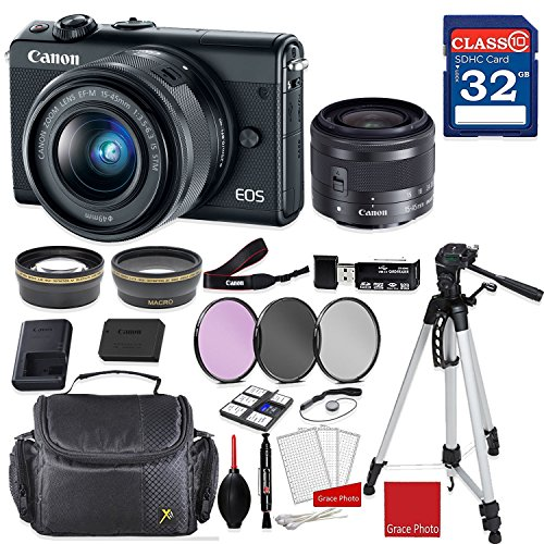 Canon EOS M100 Mirrorless Digital Camera (Black) with Canon EF-M 15-45mm f/3.5-6.3 IS STM Lens (Graphite) + Professional Accessory - Kit Graphite Stabilizer