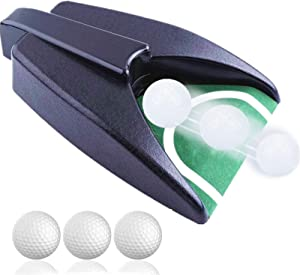 Golf Automatic Putting Cup Return Machine Indoor Use Practice Hole with Free Swing Arm Band Value Pack, Training Aid Putting Green with Ball Return for Yard Office Garden