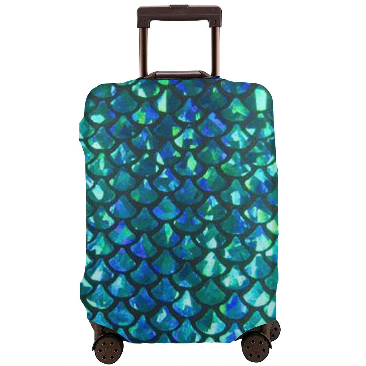 Tlkkkd_N Mermaid Scales Travel Luggage Cover Anti-Scratch Baggage Suitcase Protector Cover Fits 18-32 Inch