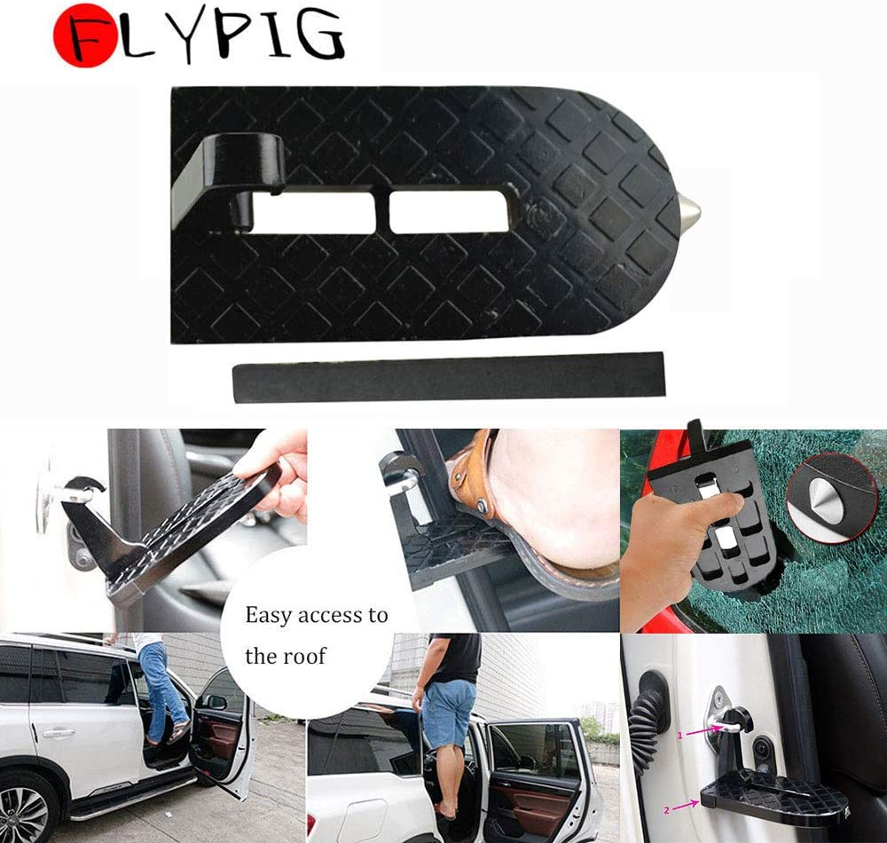 FLYPIG Folding Mini Car Door Latch Hook Foot Step Pedal Ladder for Jeep SUV Truck Roof