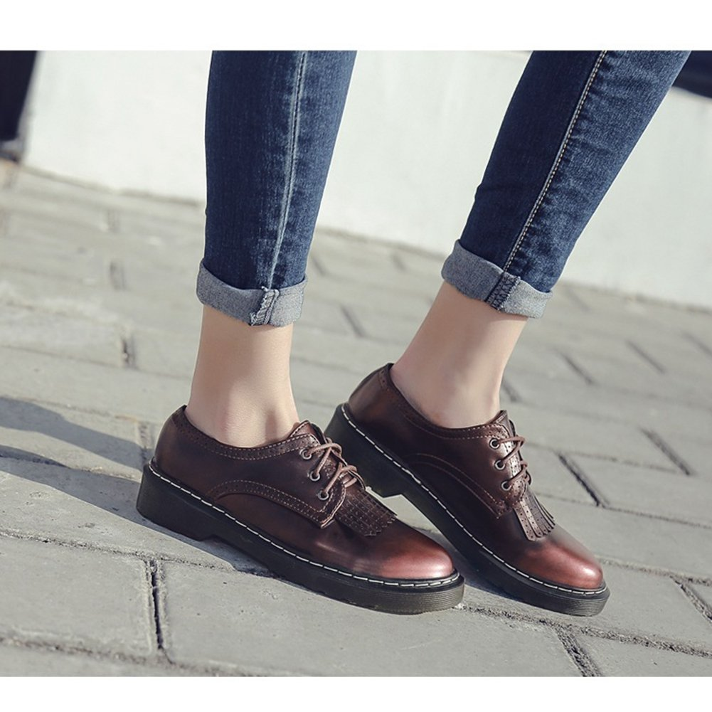 Perforated Tassel Vintage Performance Retro Shoes T-JULY Womens Classic Oxfords Shoes