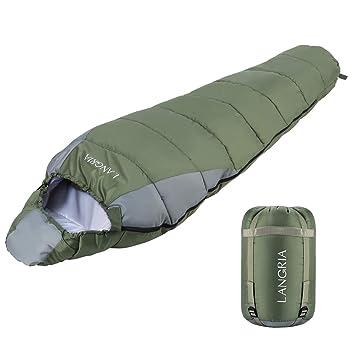 LANGRIA Saco de Dormir Ligero de 3 Estaciones con Saco de Compresión, Sacos de Dormir Compactos para Adultos, Interior/Exterior para el Camping, ...