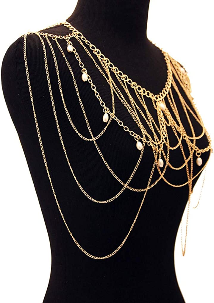 ChiqueTrendz Gold and Pearl Shoulder Chain