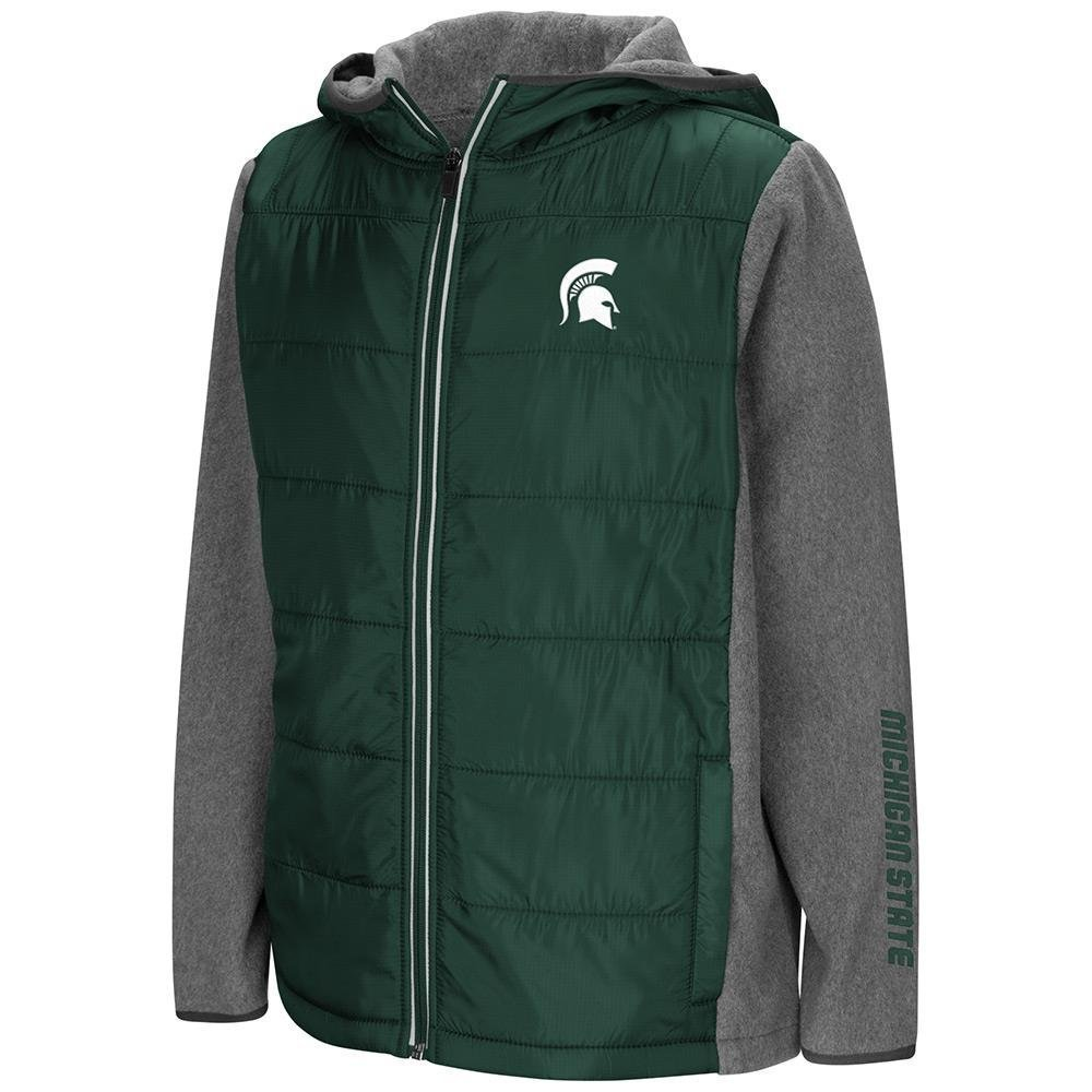 Colosseum Youth Michigan State Spartans Full Zipパフジャケット B07DWGFR93  Small (8/10)