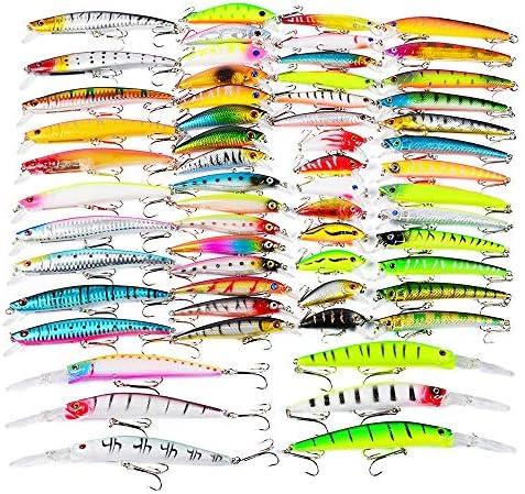 ルアー セット ルアーセットの塩水釣りベイトキットトレブルフックはキットを釣具59個 付き 釣り初心者に (Color : Multi-colored, Size : Free Size)