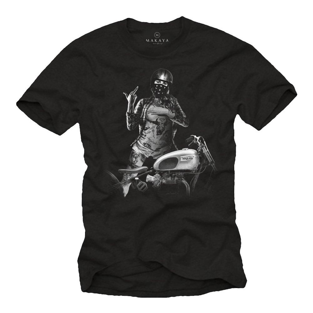 Chica con Casco Jet - Camisetas Originales Hombre con Moto: Amazon.es: Ropa y accesorios