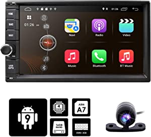 hizpo Android 9.0 Double Din Audio Video Stereo Head Unit 2GB RAM 16GB ROM 7 inch 2 DIN Touch Screen Support GPS WiFi Backup Camera USB SD Android/iPhone Mirrolink Steering Wheel Control