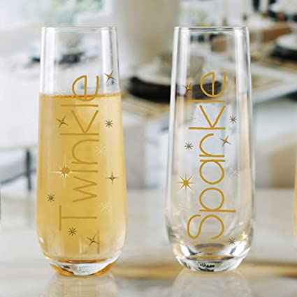 1c2841f33a7 Circleware 77098 Golden Twinkle Sparkle Stemless Champagne Flutes, Wine  Glasses, Set of 2 Party