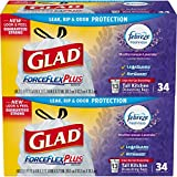 Glad ForceFlex OdorShield Tall Kitchen Drawstring Trash Bags - Febreze Mediterranean Lavender - 13 Gallon - 34 Count - 2 Pack (Packaging May Vary)