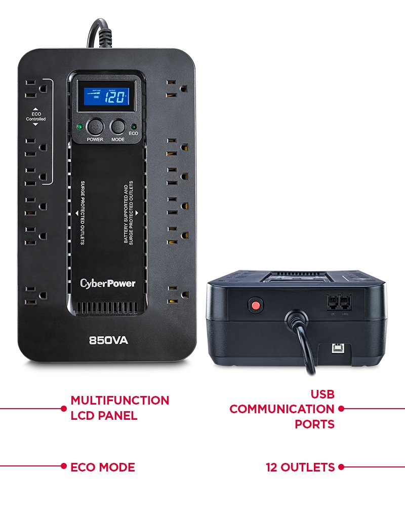 850VA//510W ECO Mode 12 Outlets CyberPower EC850LCD Ecologic UPS System Compact