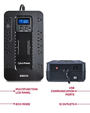 CyberPower EC850LCD Ecologic UPS System, 850VA/510W, 12 Outlets, ECO Mode, Compact