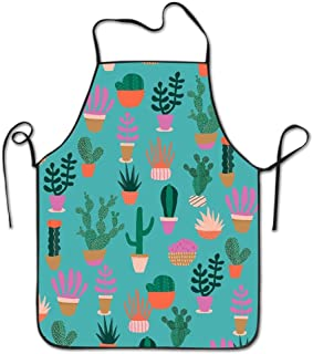 Green Cactus Pot Kitchen Apron For Women Men, Perfect For Cooking Baking BBQ