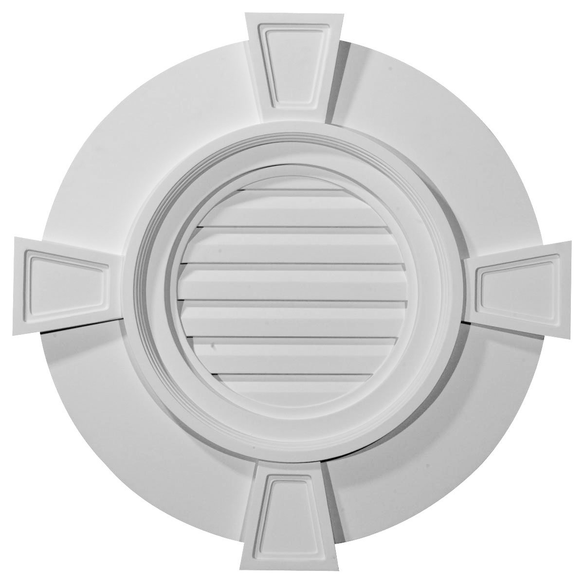 Ekena Millwork GVRO24TDK 24-Inch W x 24-Inch H x 1 1/2-Inch P Round Gable Vent with Keystones, Decorative