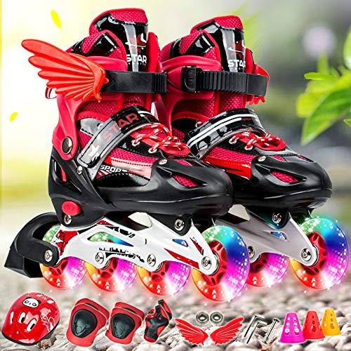 WTYD アウトドアスポーツ用品 調整可能な子供フルフラッシュシングル4輪ローラースケートスケートシューズセット、サイズ:M(ピンク) アウトドアライフのために 赤