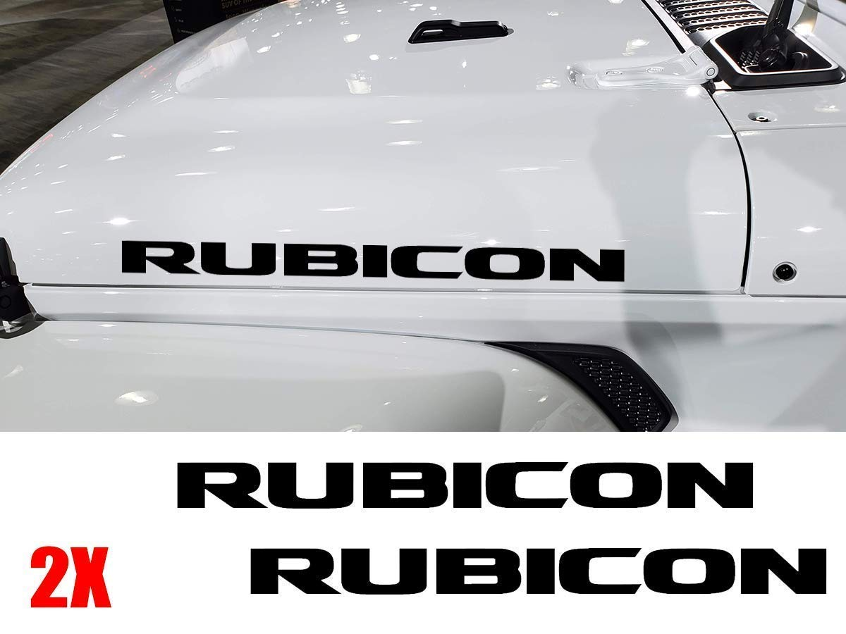 sticker compatible with Jeep wrangler Rubicon Unlimited sport YJ TJ JK JK JL JLU MULTI-COLOR or Reflective 2 pcs RUBICON hood decal