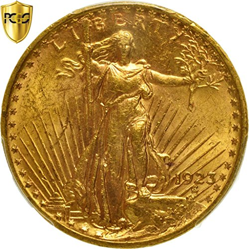 1923 No Mink Mark Saint-Gaudens 20, Double Eagle PCGS MS63
