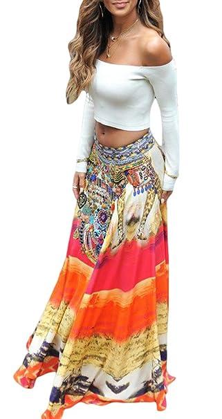 59f0b00ed COMVIP Mujeres Impresión floral de la playa vestido maxi de Bohemia ...