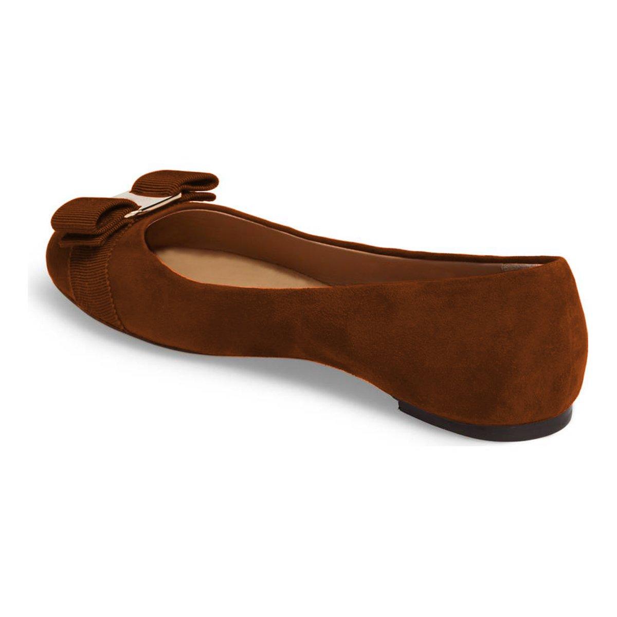 FSJ Women Cute Bowknot Round Toe Ballet Flats Slip On Casual Office Comfy Pumps Shoes Size 4-15 US B077PF19TS 11 B(M) US|Brown