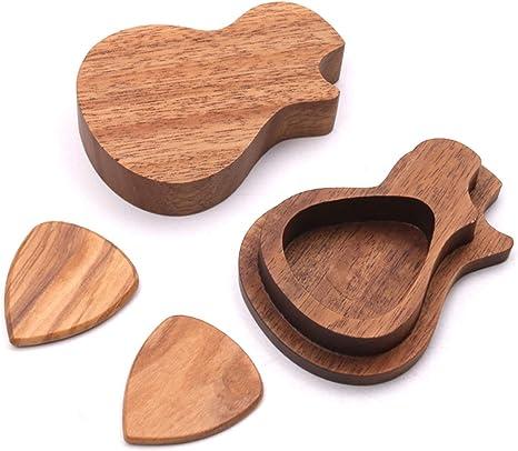 Muslady Caja de Púas de Guitarra de Madera con 3 piezas de Púas de ...