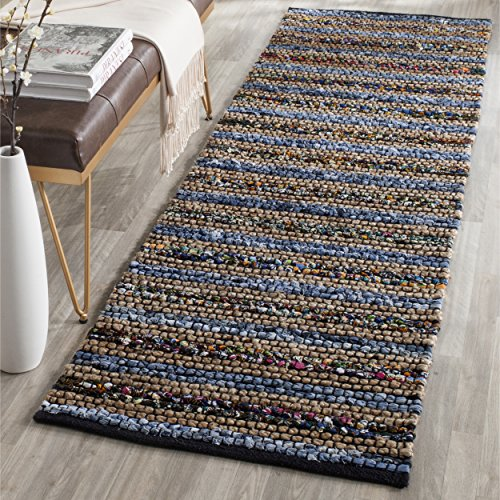 Safavieh Cape Cod Collection CAP361A Hand Woven Blue and Multi Jute Runner (2'3