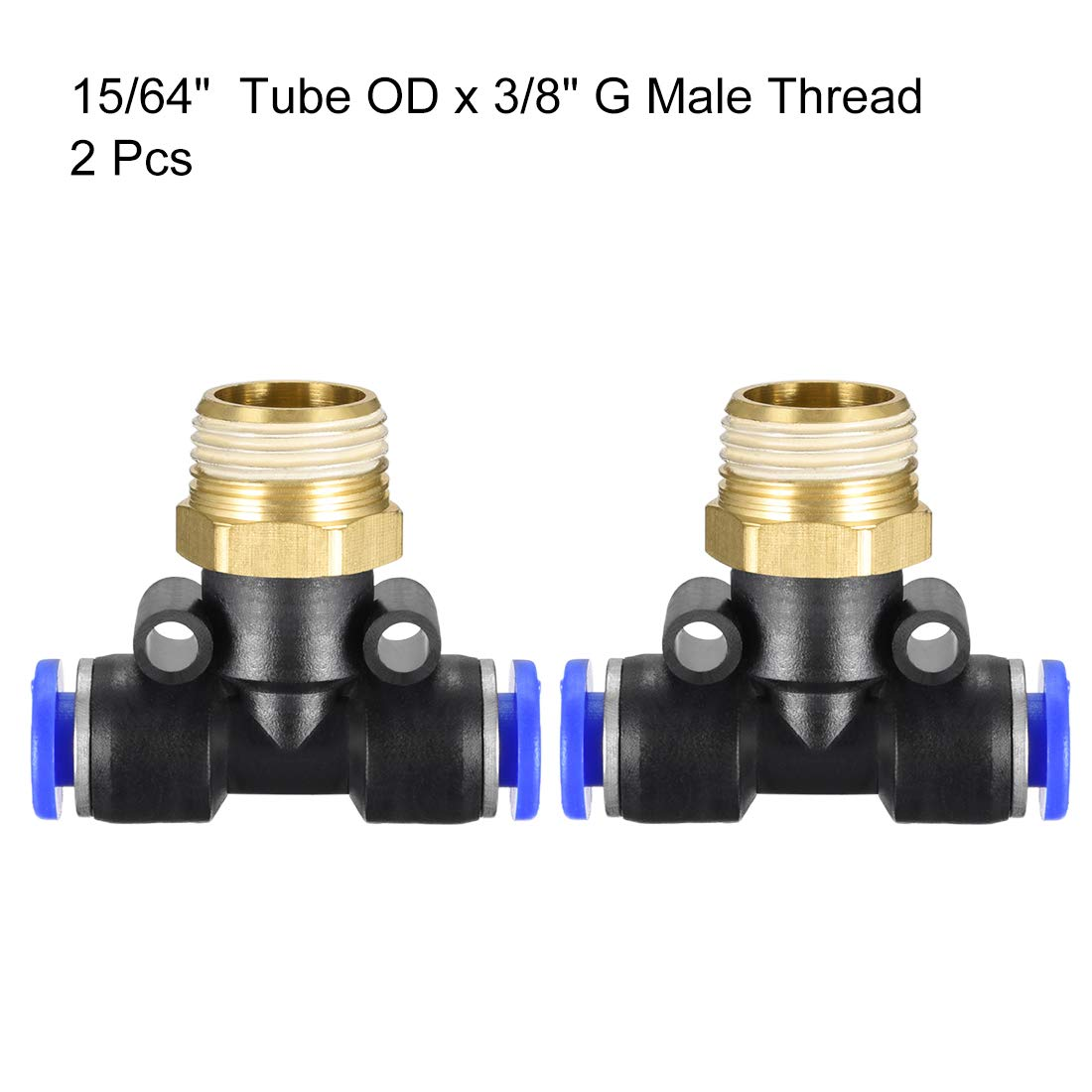 uxcell Plastic Tee Push to Connect Tube Fittings 8mm or 5//16OD x 1//4 G Male Thread Push Lock Blue 2pcs