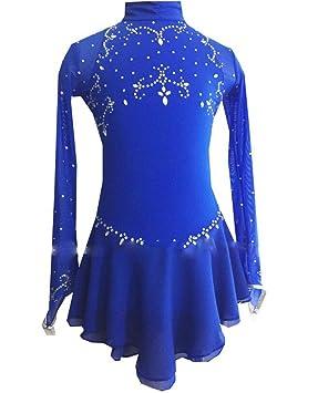 Mincon Chica Patinaje Sobre Hielo Vestidos Azul Real Ropa de Exterior/Rendimiento Ropa de Patinaje Hecho a Mano Clásico Manga Larga Patinaje Sobre ...