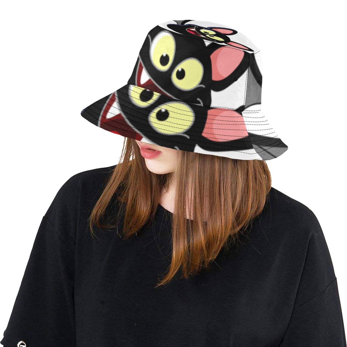 Flying Happy Bat New Summer Unisex Cotton Fashion Fishing Sun Bucket Hats for Kid Teens Women and Men with Customize Top Packable Fisherman Cap for Outdoor Travel