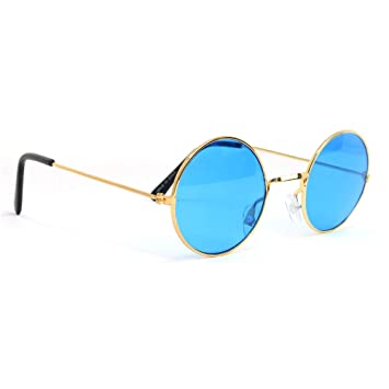 Skeleteen John Lennon Hippie Sunglasses - Blue 60s Style Circle Glasses - 1 Pair