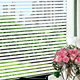 steam resistant adhesive - Wopeite Frosted Stripe Window Film 35.4 inches by 78.7inches Window Cling Stained Glass Decorative Films For Meeting Room Home Office Meeting Rooms Glass Window Doors