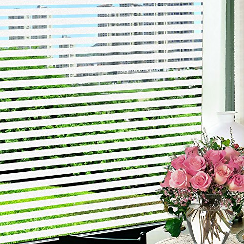 Wopeite Frosted Stripe Window Film 35.4 inches by 78.7inches Window Cling Stained Glass Decorative Films For Meeting Room Home Office Meeting Rooms Glass Window Doors by Wopeite