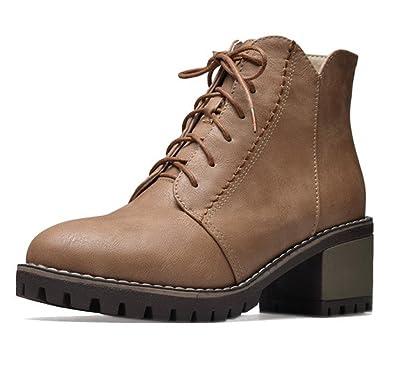 d15916586f183 Oaleen Chaussures de ville femme lacets aspect cuir talon moyen bloc boots  cheville hiver brun camel