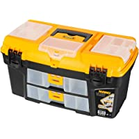Mano Rlo/21 Taşınabilir Organizerli Plastik Kilitli Takım Çantası, Polipropilen, Siyah/Sarı, 21 ''