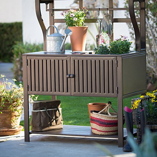 Contemporary Style, Modern Metal Chestnut Brown Finish Outdoor Potting Bench 42''W x 23''D x 72''H With Storage and 2 Slatted Shelves, 7 Hooks for Hanging Gardening Tools by Belham Living (Image #1)