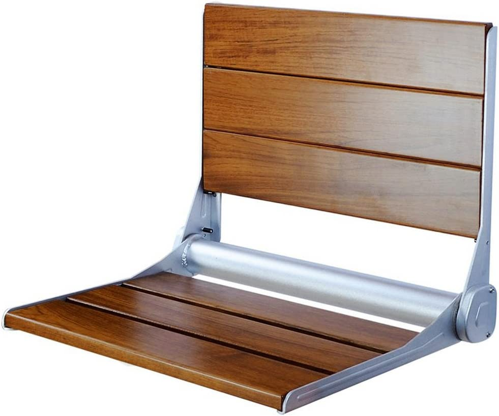 "Clevr 18"" ADA Compliant Folding Serena Teak Wood Shower Bench Seat, Clear Coated for Extra Protection and Smooth Modern Finish, Foldable Aluminum Wall-Mounted Fold Up Bathroom Stool Seating Chair 61hpjBYY6OL"