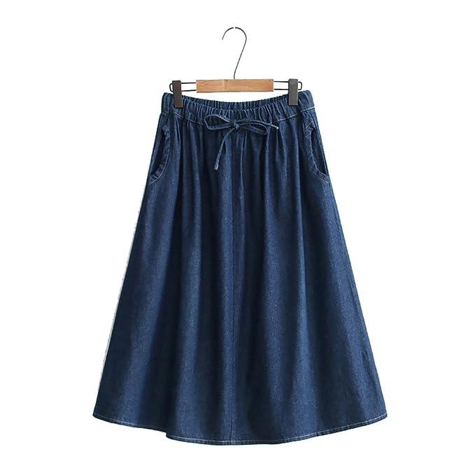 LINNUO Gonne Jeans Lunghe Linea A Denim Midi Gonna a Vita Alta Gonna  Campana Full Swing Blu Scuro  Amazon.it  Abbigliamento c65e305e485