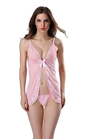 AIAI Mujer Sexy Pijama, Transparente Delgado Encaje Pijama - Rosado Tamaño único