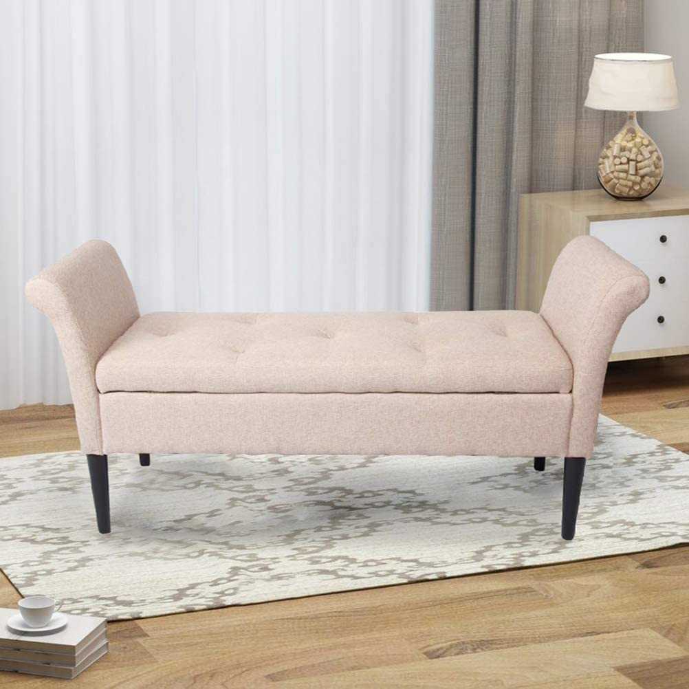 Accent Furniture Furniture Foldable Linen Fabric Bed Bench with ...