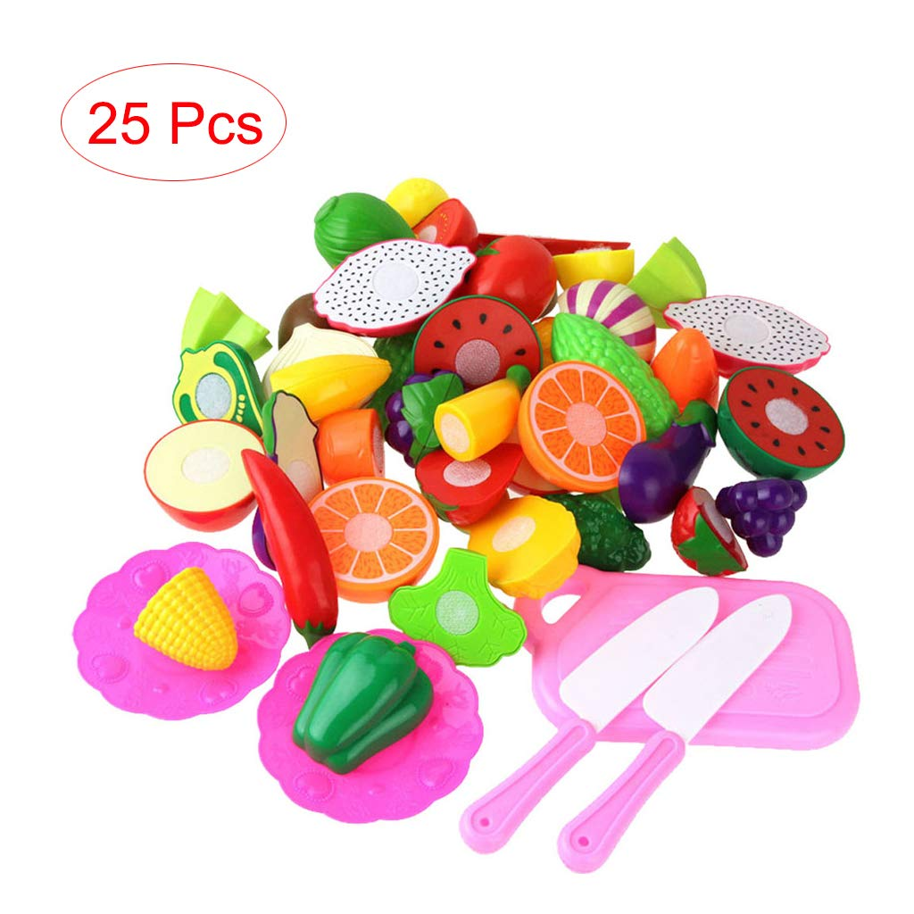 Auwish Cutting Fruits Vegetables Set Kids Kitchen Plastic Pretend Play Food Playset Early Educational Learning Toys Gifts for Christmas (25pcs, Multicolored) by Auwish