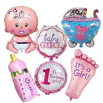 6 Unids globos XL baby 1 cumpleaños rosa ideales para la fiesta de nuevo bebes decoracion
