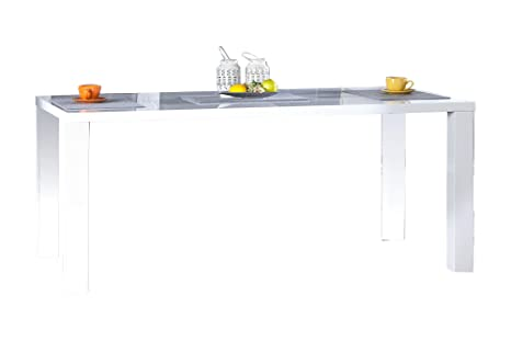 DuNord Design Comedor Blanche 160 cm Blanco Brillante ...