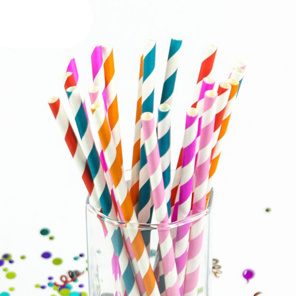 Feccile 200Pcs Drink Paper Straws Birthday Party Picnics Camping Supplies by Feccile Kitchen (Image #4)