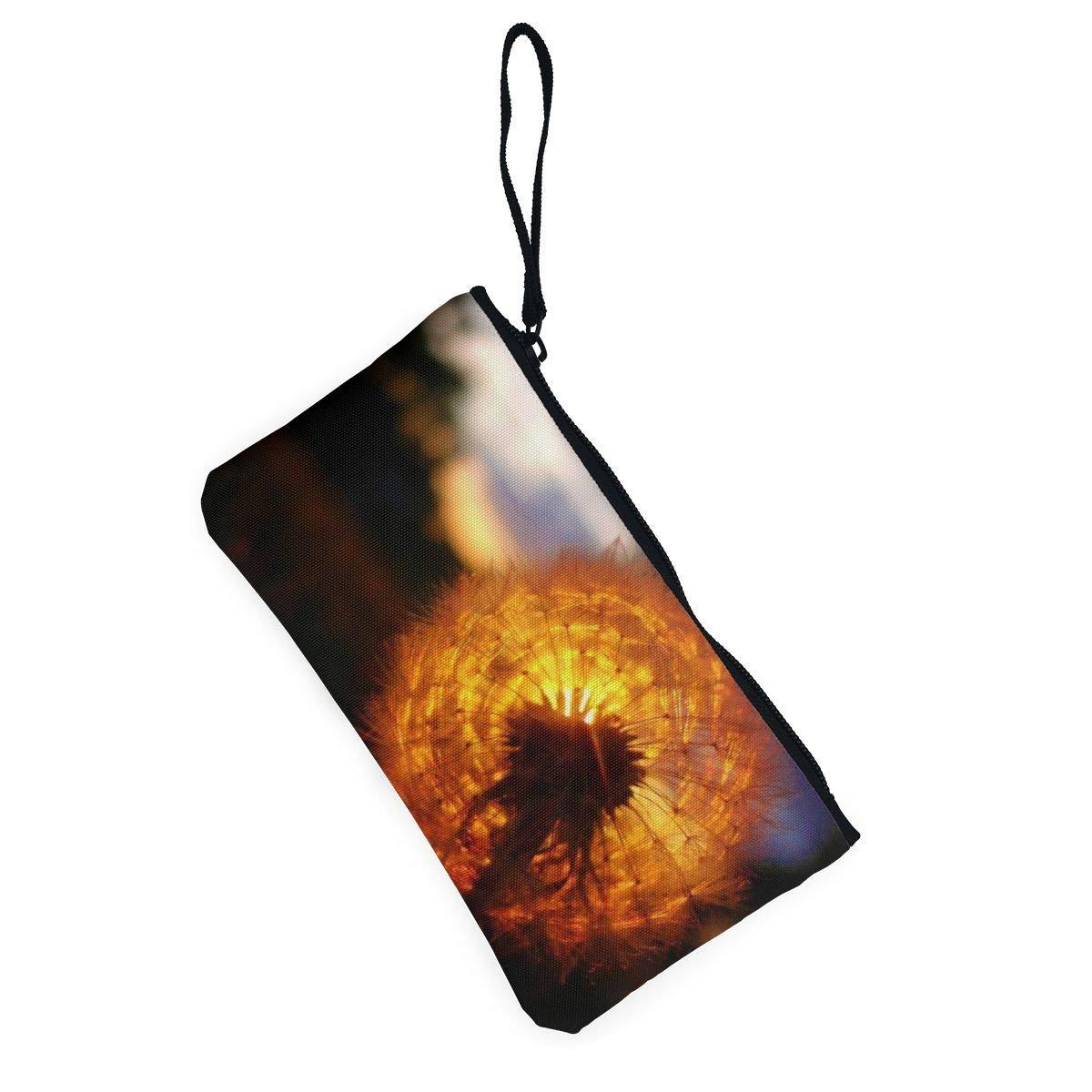 YUANSHAN Sun On Dandelion Unisex Canvas Coin Purse Change Cash Bag Zipper Small Purse Wallets with Handle
