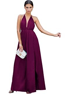 71c51dcfaf SheIn Women's Sexy Satin Deep V Neck Backless Maxi Party Evening Dress
