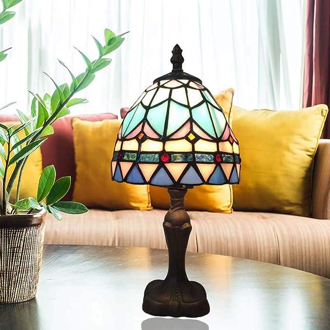 Lámpara de mesa estilo Tiffany, luz de escritorio de cristal azul ...