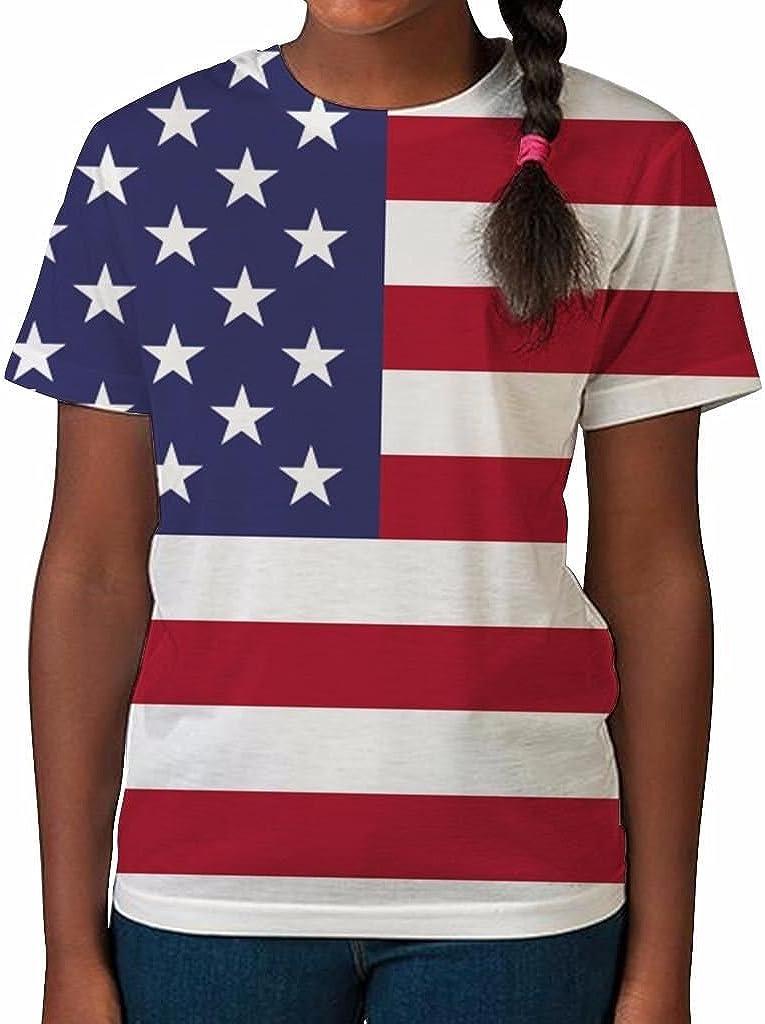 Camiseta para Niños en Impresión Total Bandera USA Vestidos de Verano para Chicas Top Impreso: Amazon.es: Ropa y accesorios