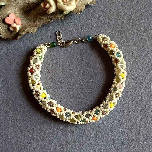 Multicolored bracelet, tubular netted bracelet, handmade bracelet, offwhite bracelet, tubular bracelet, rope bracelet, seed bead bracelet